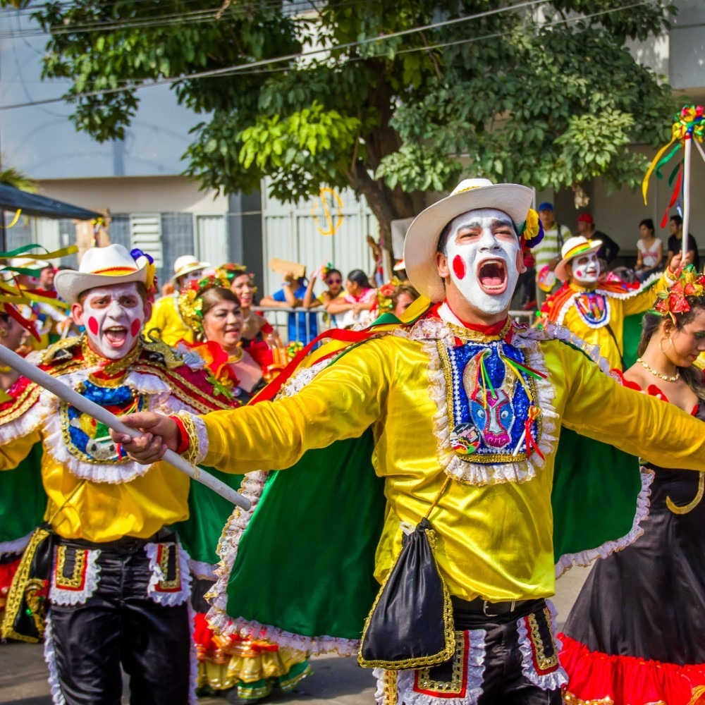 Performers with colorful and elaborate costumes participate in Colombia's most important folklore celebration, the Carnival of Barranquilla, Colombia